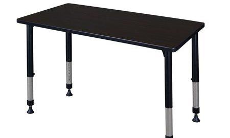"""Kee 42"""" x 30"""" Height Adjustable Classroom Table - Mocha Walnut"""