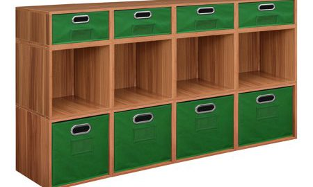 Niche Cubo Storage Set- 8 Full Cubes/4 Half Cubes with Foldable Storage Bins- Warm Cherry/Green