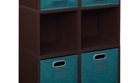 Niche Cubo Storage Set- 4 Full Cubes/2 Half Cubes with Foldable Storage Bins- Truffle/Teal