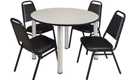 """Kee 48"""" Round Breakroom Table- Maple/ Chrome & 4 Restaurant Stack Chairs- Black"""