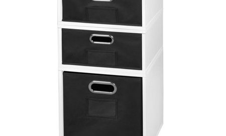 Niche Cubo Storage Set- 1 Full Cube/2 Half Cubes with Foldable Storage Bins- White Wood Grain/Black