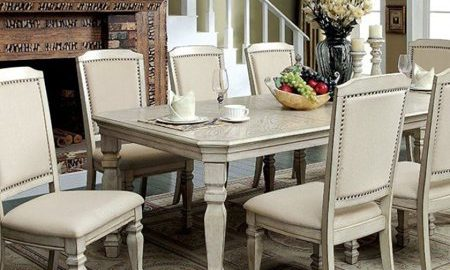 Holcroft Transitional Style Dining Table, Antiqued White