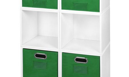 Niche Cubo Storage Set- 4 Full Cubes/2 Half Cubes with Foldable Storage Bins- White Wood Grain/Green