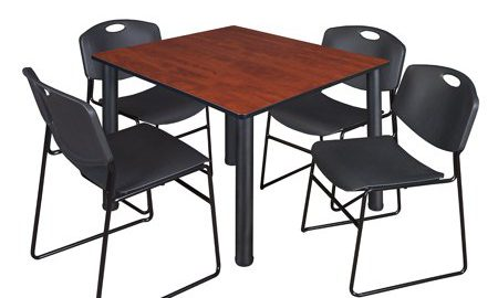 """Kee 48"""" Square Breakroom Table- Cherry/ Black & 4 Zeng Stack Chairs- Black"""