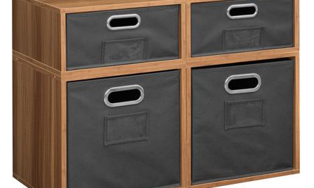 Niche Cubo Storage Set- 2 Full Cubes/2 Half Cubes with Foldable Storage Bins- Warm Cherry/Grey