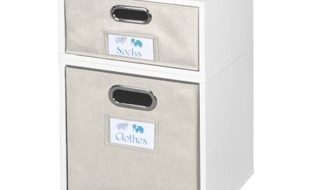 Niche Cubo Storage Set- 1 Half Cube/1 Full Cube with Foldable Storage Bins- White Wood Grain/Natural