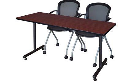 """60"""" x 24"""" Kobe Training Table- Mahogany and 2 Cadence Nesting Chairs"""