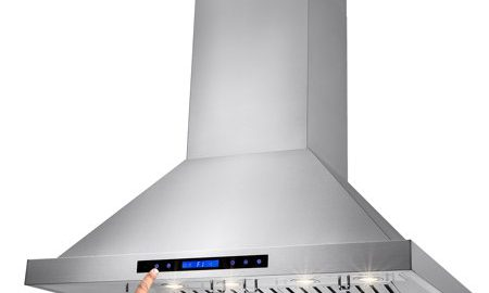 """AKDY 36"""" Stainless Steel Island Mount Range Hood Touch Screen Display Baffle Filter Vent with Remote Control"""