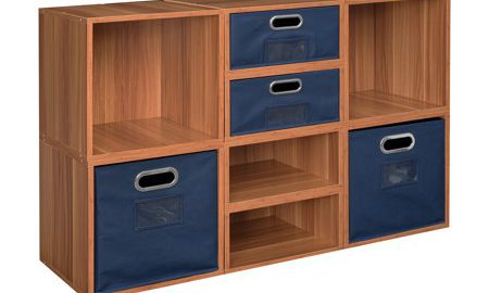 Niche Cubo Storage Set- 4 Full Cubes/4 Half Cubes with Foldable Storage Bins- Warm Cherry/Blue