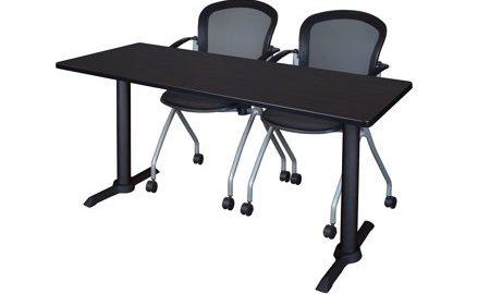 "Cain 60"" x 24"" Training Table- Mocha Walnut & 2 Cadence Nesting Chairs- Black"