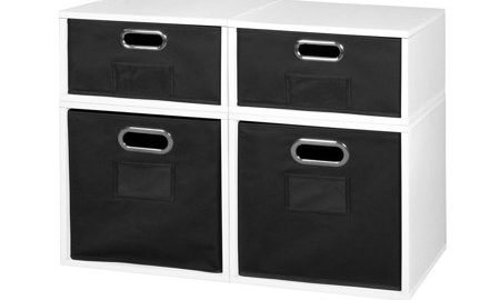 Niche Cubo Storage Set- 2 Full Cubes/2 Half Cubes with Foldable Storage Bins- White Wood Grain/Black