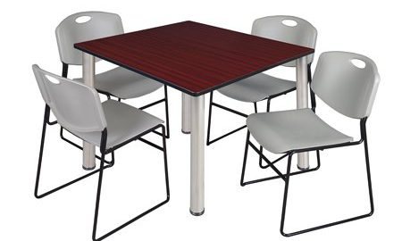 """Kee 48"""" Square Breakroom Table- Mahogany/ Chrome & 4 Zeng Stack Chairs- Grey"""