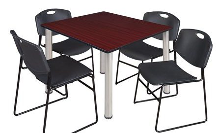 """Kee 48"""" Square Breakroom Table- Mahogany/ Chrome & 4 Zeng Stack Chairs- Black"""