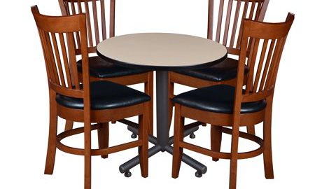 """Kobe 30"""" Round Breakroom Table with 4 Zoe Caf © Chairs- Beige"""