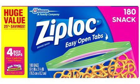 Ziploc Snack Bags 180 count