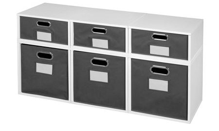 Niche Cubo Storage Set- 3 Full Cubes/3 Half Cubes with Foldable Storage Bins- White Wood Grain/Grey