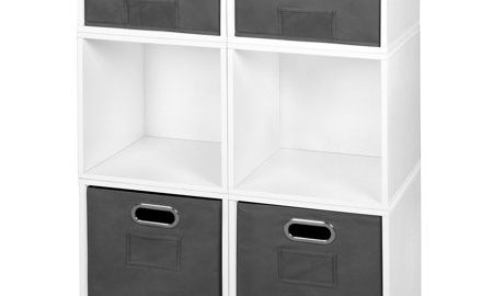 Niche Cubo Storage Set- 4 Full Cubes/2 Half Cubes with Foldable Storage Bins- White Wood Grain/Grey