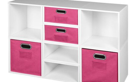 Niche Cubo Storage Set- 4 Full Cubes/4 Half Cubes with Foldable Storage Bins- White Wood Grain/Pink