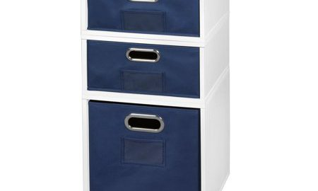 Niche Cubo Storage Set- 1 Full Cube/2 Half Cubes with Foldable Storage Bins- White Wood Grain/Blue