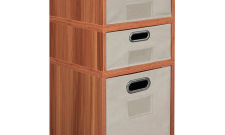 Niche Cubo Storage Set- 1 Full Cube/2 Half Cubes with Foldable Storage Bins- Warm Cherry/Natural