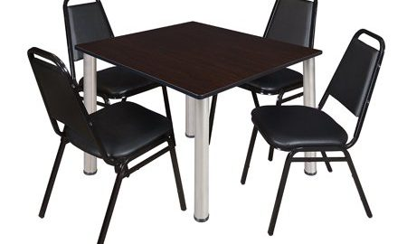 """Kee 48"""" Square Breakroom Table- Mocha Walnut/ Chrome & 4 Restaurant Stack Chairs- Black"""
