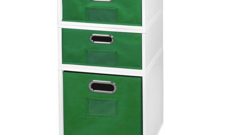 Niche Cubo Storage Set- 1 Full Cube/2 Half Cubes with Foldable Storage Bins- White Wood Grain/Green