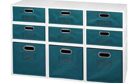 Niche Cubo Storage Set- 3 Full Cubes/6 Half Cubes with Foldable Storage Bins- White Wood Grain/Teal