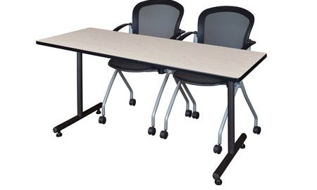 """72"""" x 24"""" Kobe Training Table- Maple and 2 Cadence Nesting Chairs"""