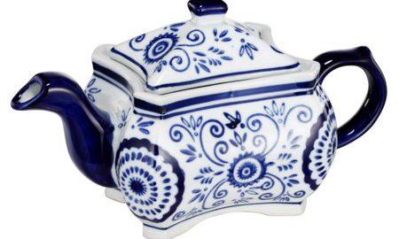 Attractive Designer Teapot, Blue & White