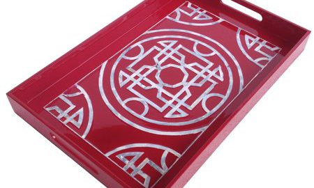 A Home Lacquered Tray, Mother Of Pearl Inlay