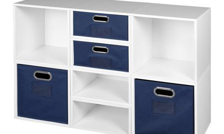 Niche Cubo Storage Set- 4 Full Cubes/4 Half Cubes with Foldable Storage Bins- White Wood Grain/Blue