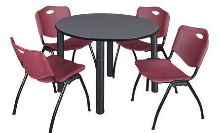 "Kee 48"" Round Breakroom Table- Grey/ Black & 4 'M' Stack Chairs- Burgundy"
