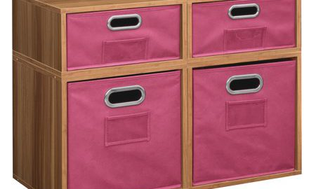 Niche Cubo Storage Set- 2 Full Cubes/2 Half Cubes with Foldable Storage Bins- Warm Cherry/Pink