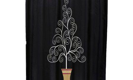 Filigree Tree Geometric Print Shower Curtain