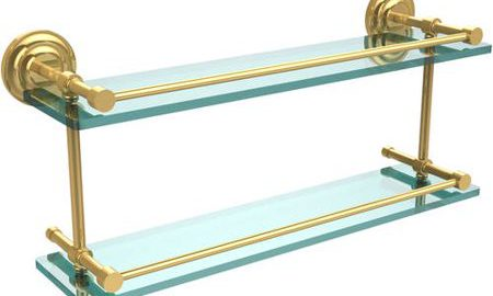 """Que New 22"""" Double Glass Shelf with Gallery Rail"""