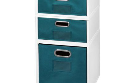 Niche Cubo Storage Set- 1 Full Cube/2 Half Cubes with Foldable Storage Bins- White Wood Grain/Teal