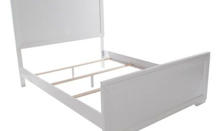 Home Source Garbo White King Bed with Textured Headboard and Footboard