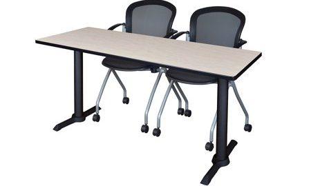 "Cain 60"" x 24"" Training Table- Maple & 2 Cadence Nesting Chairs- Black"