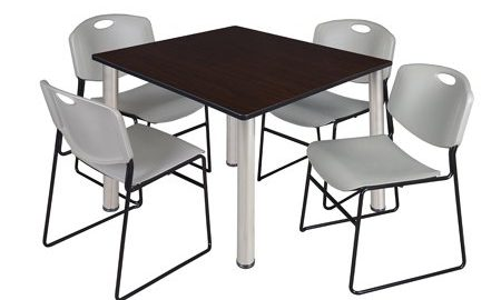 """Kee 48"""" Square Breakroom Table- Mocha Walnut/ Chrome & 4 Zeng Stack Chairs- Grey"""