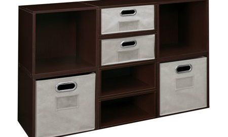 Niche Cubo Storage Set- 4 Full Cubes/4 Half Cubes with Foldable Storage Bins- Truffle/Natural