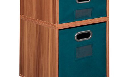 Niche Cubo Storage Set- 1 Half Cube/1 Full Cube with Foldable Storage Bins- Warm Cherry/Teal