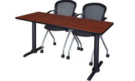 "Cain 66"" x 24"" Training Table- Cherry & 2 Cadence Nesting Chairs- Black"