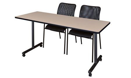 """60"""" x 24"""" Kobe Mobile Training Table- Beige & 2 Mario Stack Chairs- Black"""