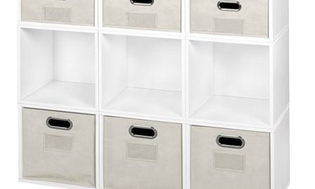 Niche Cubo Storage Set- 6 Full Cubes/3 Half Cubes with Foldable Storage Bins- White Wood Grain/Natural
