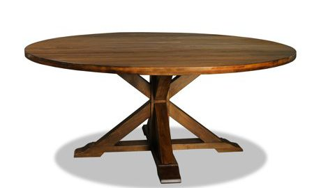 South Cone Home La Phillippe Reclaimed Wood Round Dining Table, Cognac
