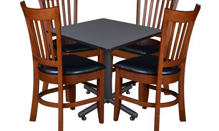 """Kobe 30"""" Square Breakroom Table with 4 Zoe Caf © Chairs- Grey"""