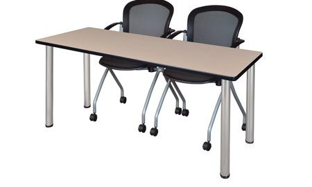 """72"""" x 24"""" Kee Training Table- Beige/Chrome and 2 Cadence Nesting Chairs"""