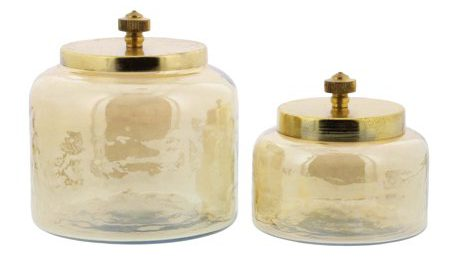 Decmode Set of 2 modern 4 and 5 inch gold-finished glass jars with iron lids, Gold