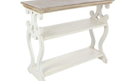 Decmode Farmhouse 32 X 38 Inch Wooden Decorative Console Table, White