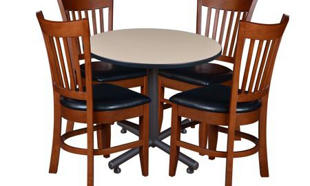 """Kobe 42"""" Round Breakroom Table with 4 Zoe Caf © Chairs- Beige"""